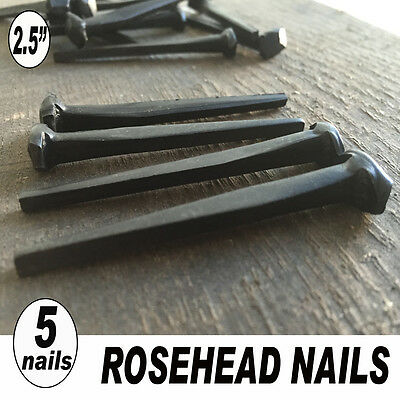 """(5) 2.5"""" ROSE HEAD WROUGHT NAILS -Vintage Iron Nails (8d) ~ Hand crafted look"""