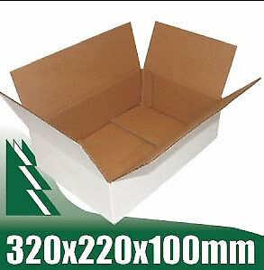 20 x Cardboard Boxes 320x220x100mm White Packaging Carton Mailing Box STRONG