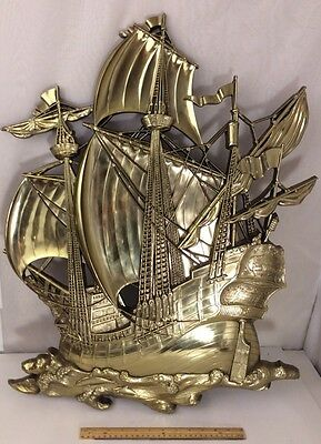 Vintage Homco 1968 3663 Syroco Gold Pirate Ship Wall Hanging LARGE Schooner
