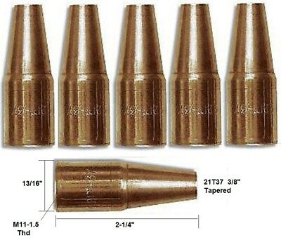 """5 Mig Welding Nozzles 21T37, 3/8"""" Tapered Fit Mini#1 & Lincoln Magnum 100"""