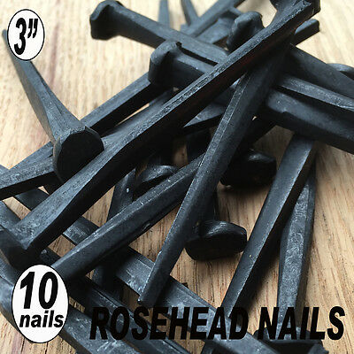 "(10) 3"" ROSE HEAD NAILS - Decortative Square Wrought Head Iron nails- 10d"