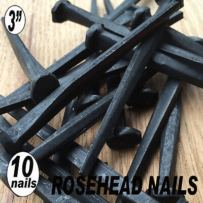 "(10) 3"" ROSE HEAD NAILS - Decotative Square Wrought Head Iron nails- 10d"