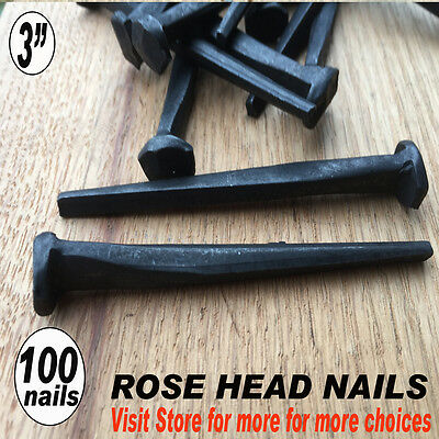 "(100) 3""~ ROSE HEAD - Antique reproduction style - Historic look  - 10d"