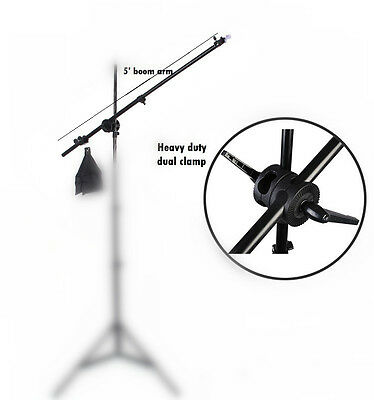 New photo studio fully extendable 5.5ft boom arm with clamp and sandbag