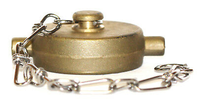 "1-1/2"" NST (NH) Fire Hose Hydrant Brass Cap with Stainless Steel Chain"