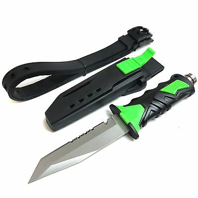 Saber Diving Knives Rescue Scuba Diver High Hardness w/ Leg Strap Straight GREEN