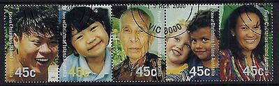 2000 Christmas Island Faces Strip Of 5 Fine Used