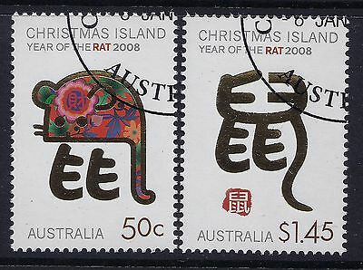 2008 Christmas Island Year Of The Rat Set Of 2 Fine Used