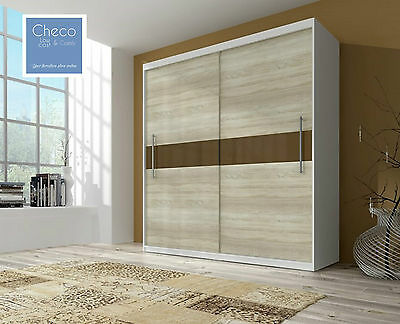 MODERN SLIDING DOOR BEDROOM WARDROBE 6 ft 8 inch(204cm) 2 SHELFS SONOMA & WHITE