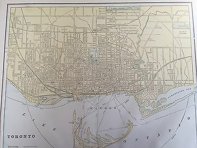 Antique COLOR MAP of Toronto, Canada-circa 1893
