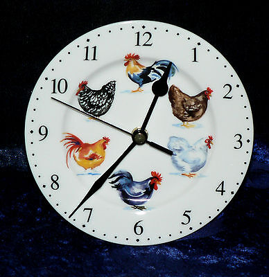 Chicken wall clock - Porcelain wall clock with chickens rooster cockerels design