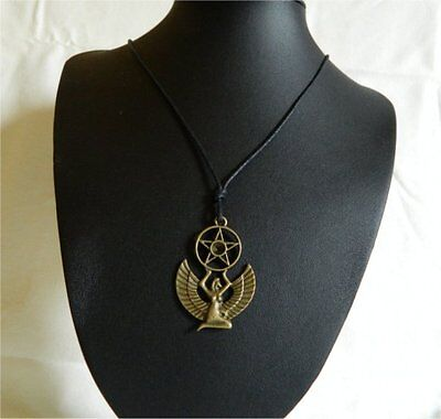 WINGED ISIS GODDESS Pendant Necklace with Pent