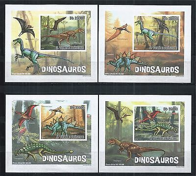 Sao Tome And Principe 2010 Block Set Imperf ** Prehistoric Animals Dinosauros