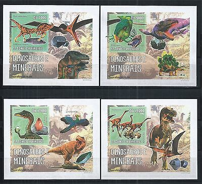 Sao Tome And Principe 2006 Block Set Imperf ** Prehistoric Animals Minerals