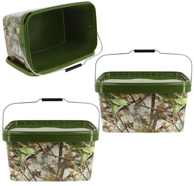 2 X Square 10L Camo Bait Buckets For Boilies Pellets With Hinged Table Lid Carp