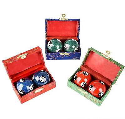 3 Sets Chinese Health Exercise Stress Baoding Balls Red, Blue, Green Yin Yang
