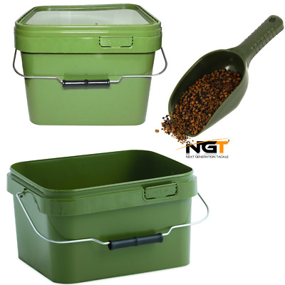2 X Square 10L Camo Bait Buckets With Hinged Lid + Carp Fishing Baiting Spoon