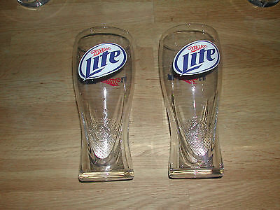 Miller Lite Schooner Shaped Draft Pint Beer Glasses - Two (2) New
