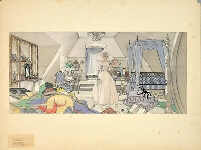 IF A MAN ANSWERS (1962) Production set sketch of Chantel's wedding day - bedroom