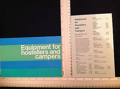Vintage Yha Equipment For Youth Hostellers Campers Brochure 1970's