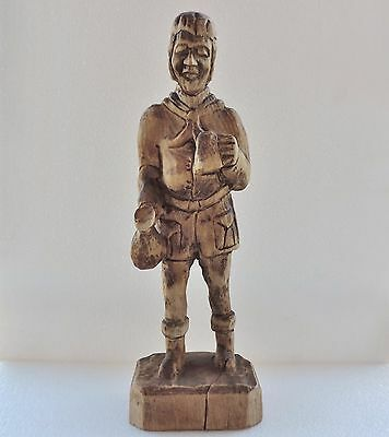 Antique hand carved wood German man with wine Pitcher and cup. • CAD $82.57