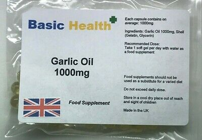 Garlic Oil Soft Gels x 90 1000mg Strong Odourless Cholesterol Heart Circulation