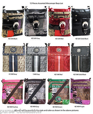 Wholesale Lot - 12 Women's Designer Crossbody Messenger Bags Handbags