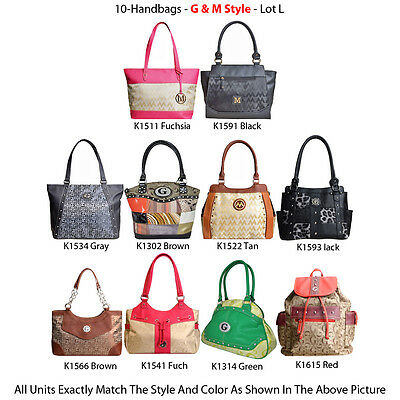 Wholesale Lot - 10 Women's G & M Style Handbags - Designer Tote & Satchel Purses