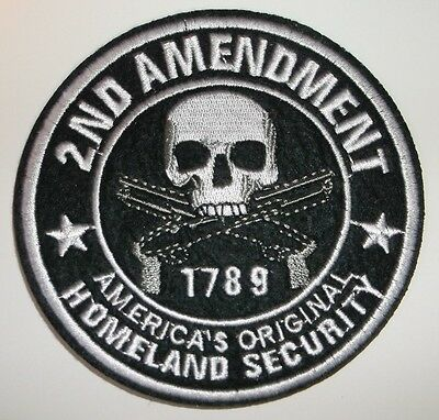 "2nd Amendment 1789~LARGE Embroidered Patch~ROUND 4""~Iron or Sew On~FREE Shipping"