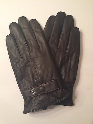 Mens GENUINE LAMBSKIN soft leather warm winter gloves with soft velvet lining