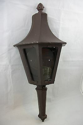 Vintage 1950's Mid Century Outdoor Wall Sconce Tudor Lantern Glass Porch Light