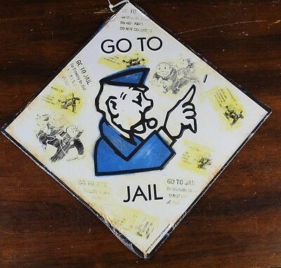 """Monopoly Embossed Metal Sign 17"""" X 17"""" COP GO TO JAIL Hasbro Wall Decor mancave"""
