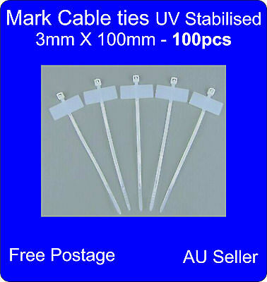 100 x Nylon Mark Tags Label Cable Ties 3mmX100mm