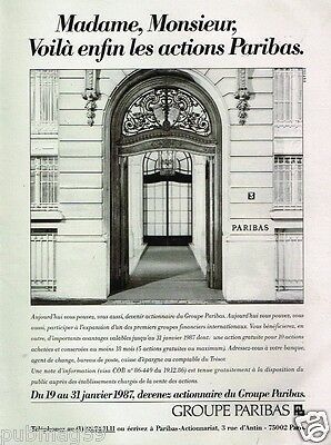 Publicité advertising 1987 Banque Paribas
