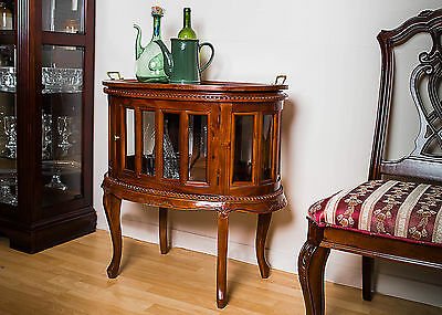 Mahogany Oval Cabinet Chest Tea  Drinks Antique Reproduction Display Tray Glass