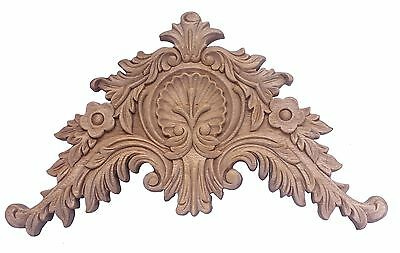 Fabulous Victorian Style 14 Inch Pediment Crest Component Carved Wood Unfinished