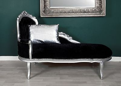 Chaise Longue Love Seat Sofa Bed Window Seat Silver Black French Shabby Chic