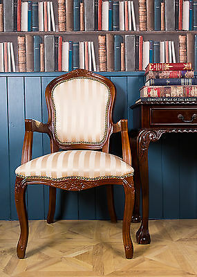 French Louis Armchair Mahogany Gold Shabby Chic Bed Room Antique Style Bedroom