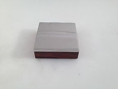 "Bench Block Steel And Wood Base 3"" Sq X 1"" Thick Flat Anvil Jewlery Making Tool"