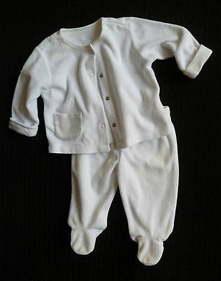 Baby clothes BOY GIRL3-6m lightweight white velour jacket/ trouser COMBINE POST