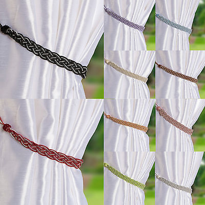 Pair Of Braided Satin Rope Curtain Tie Backs -Tiebacks Holdbacks Curtain & Voile