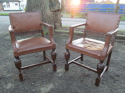 Pair of Carolean style oak armchairs/desk chairs