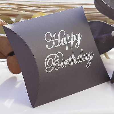 Black Gift Pillow Box With Silver Lettering