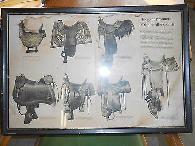 Antique saddle poster / print framed.