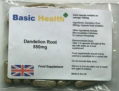 Dandelion 550mg x 30 Whole Root Capsules Water Retention Liver Detox Made in UK
