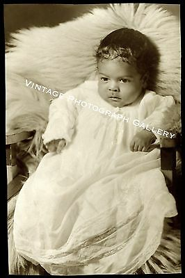 Antique Photo Black African American Baby 1920's 30's