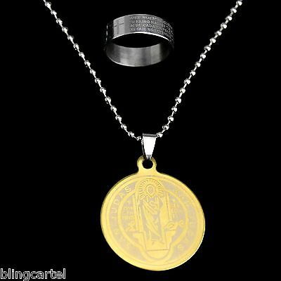 Saint St Jude Medal San Judas Medalla Chain Necklace & Padre Nuestro Ring Set