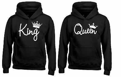 Couple Hoodie - KING & QUEEN - Valentines Day, Cute Couples Gifts, His and Hers