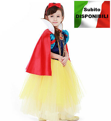Biancaneve Vestito Carnevale Dress up Princess Snow White Girl Costumes SNOW001