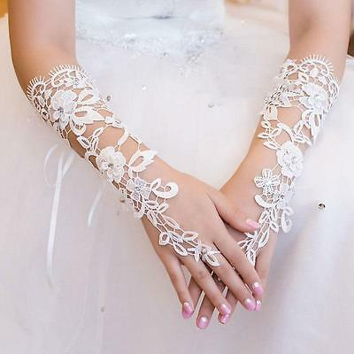 Bride Bridal Lace Gloves Flower&Rhinestone Fingerless For Wedding Party white
